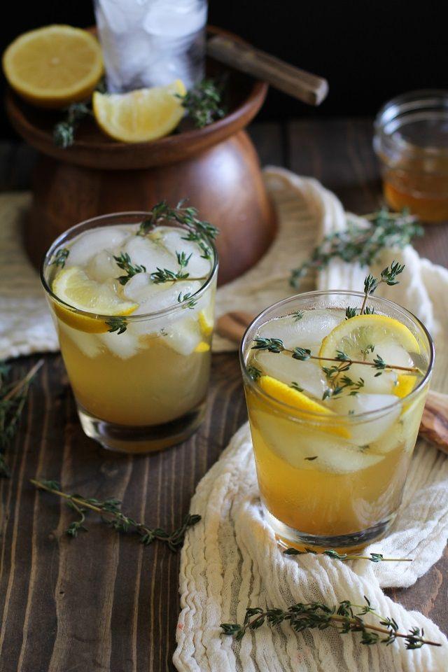 Bourbon, Lemon and Thyme Cocktails