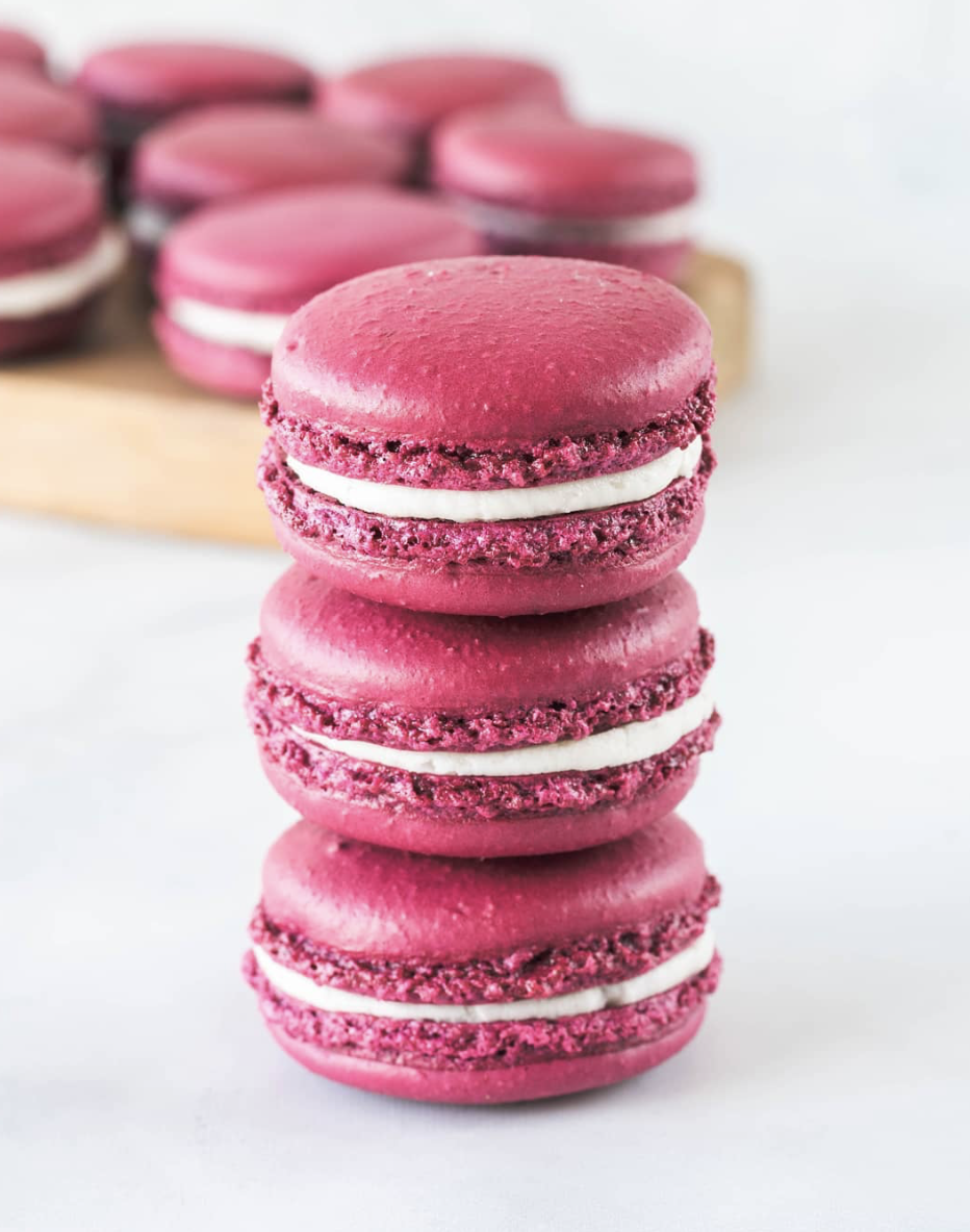 Pomegranate Macarons with Buttercream Pomegranate Jam Filling