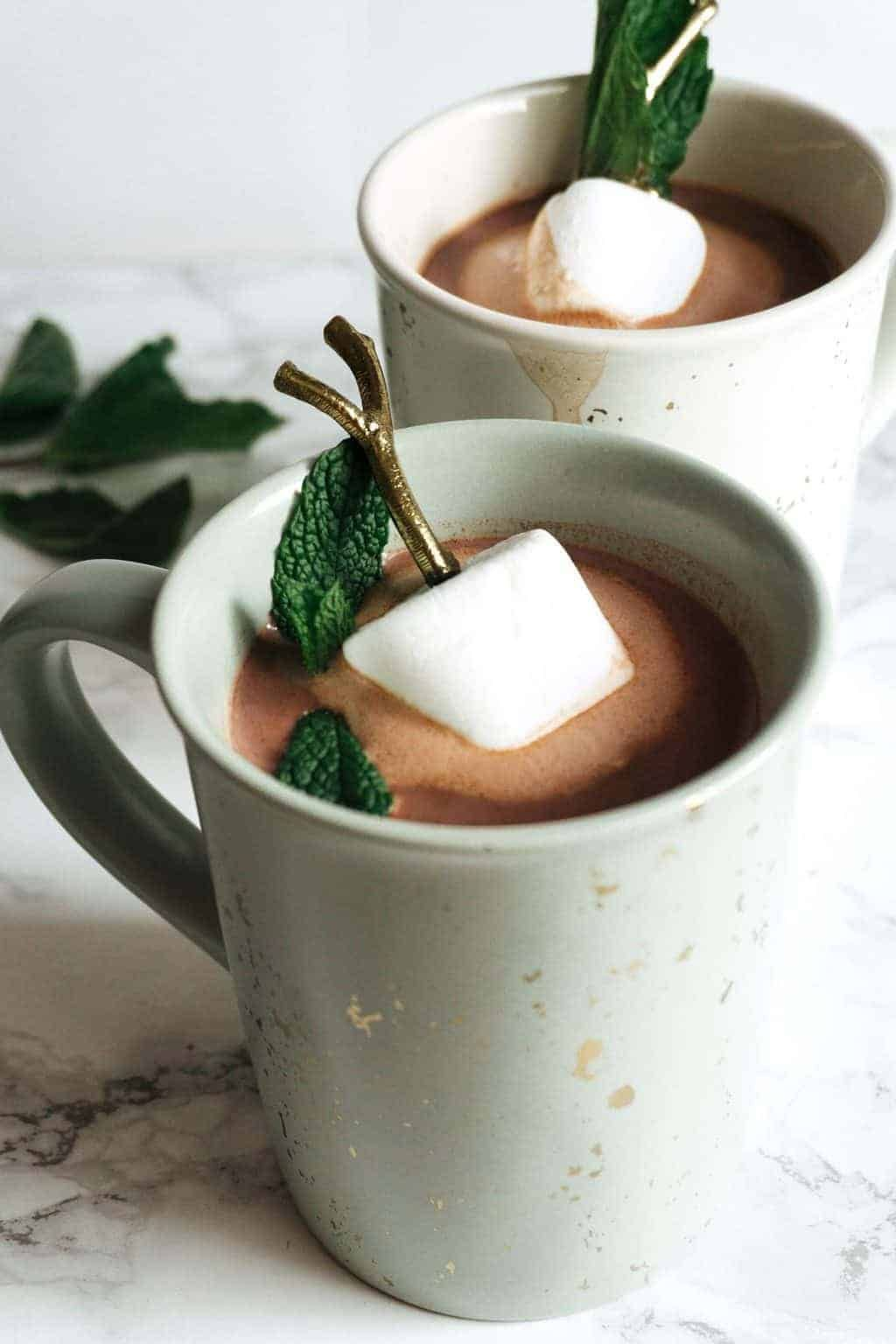 Boozy Hot Chocolate with Mint