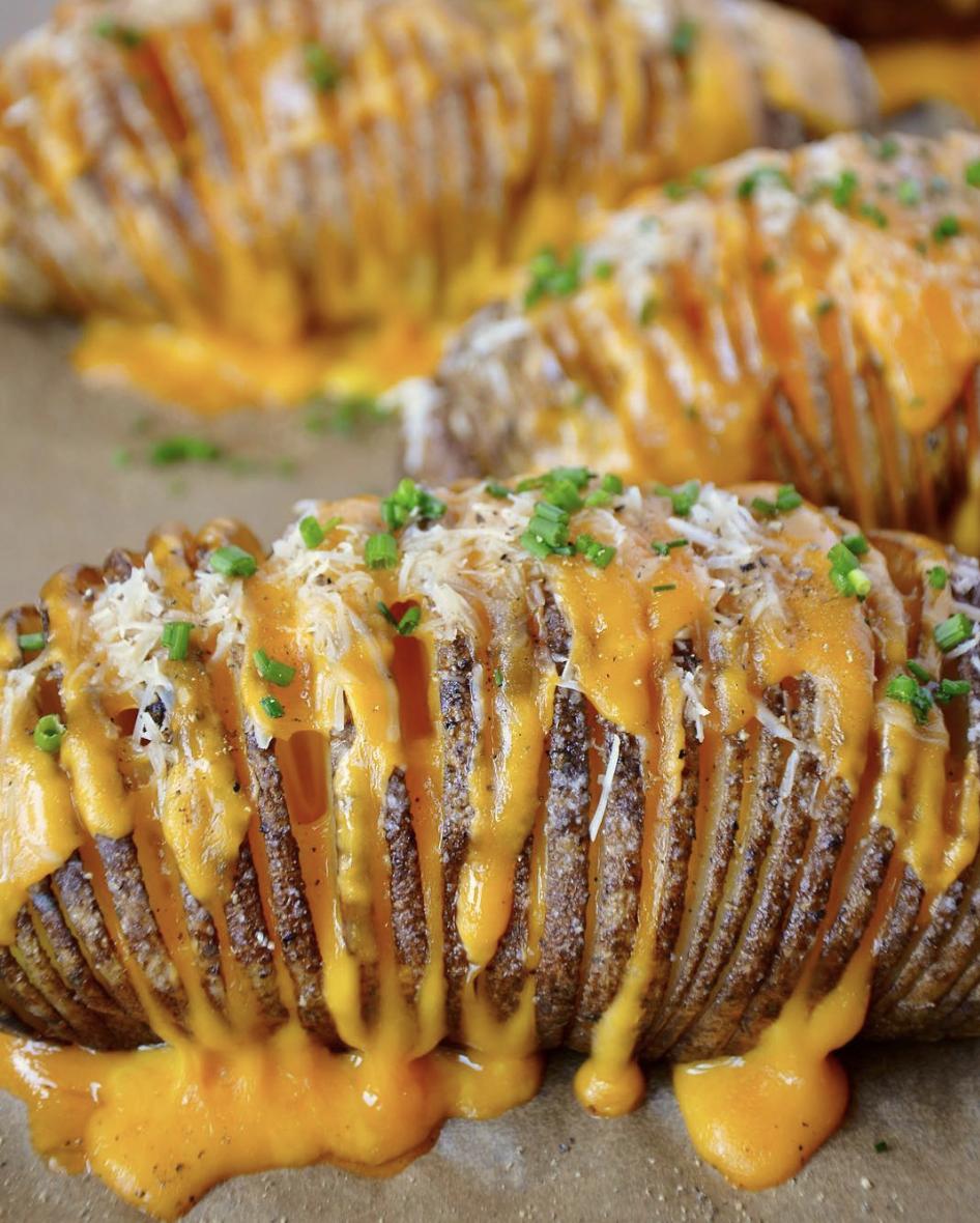 Cheese Stuffed Hasselback Potatoes