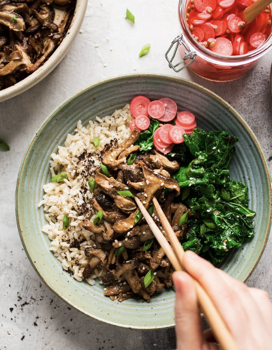 Miso Mushroom Rice Bowl with Pickled Radishes
