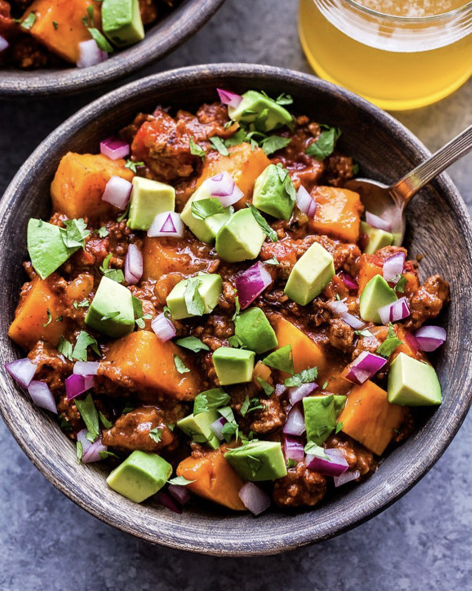 Slow Cooker Bison Sweet Potato Chili with Avocado