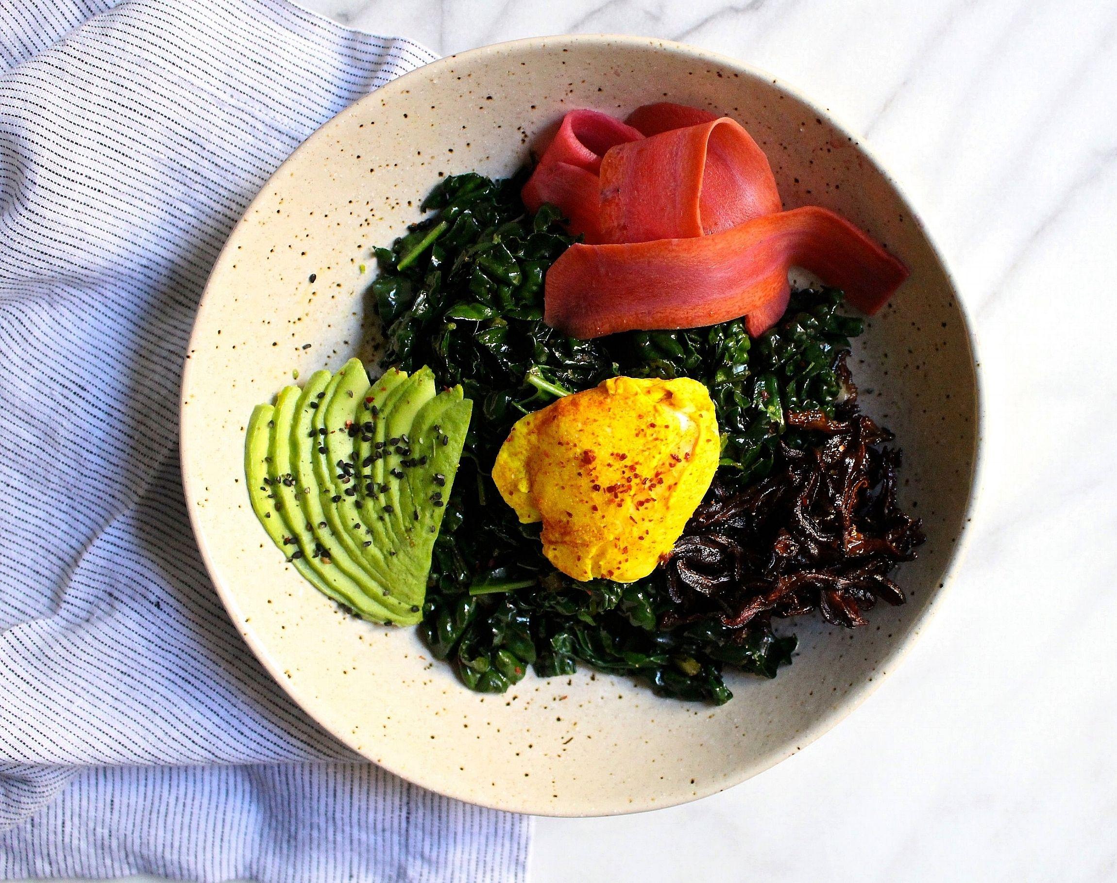 Turmeric Poached Egg, Shiitake Bacon and Kale