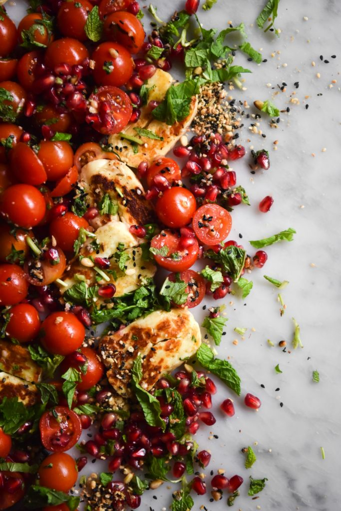 Tomato, Halloumi and Pomegranate Salad with Dukkah and Orange bBossom Dressing
