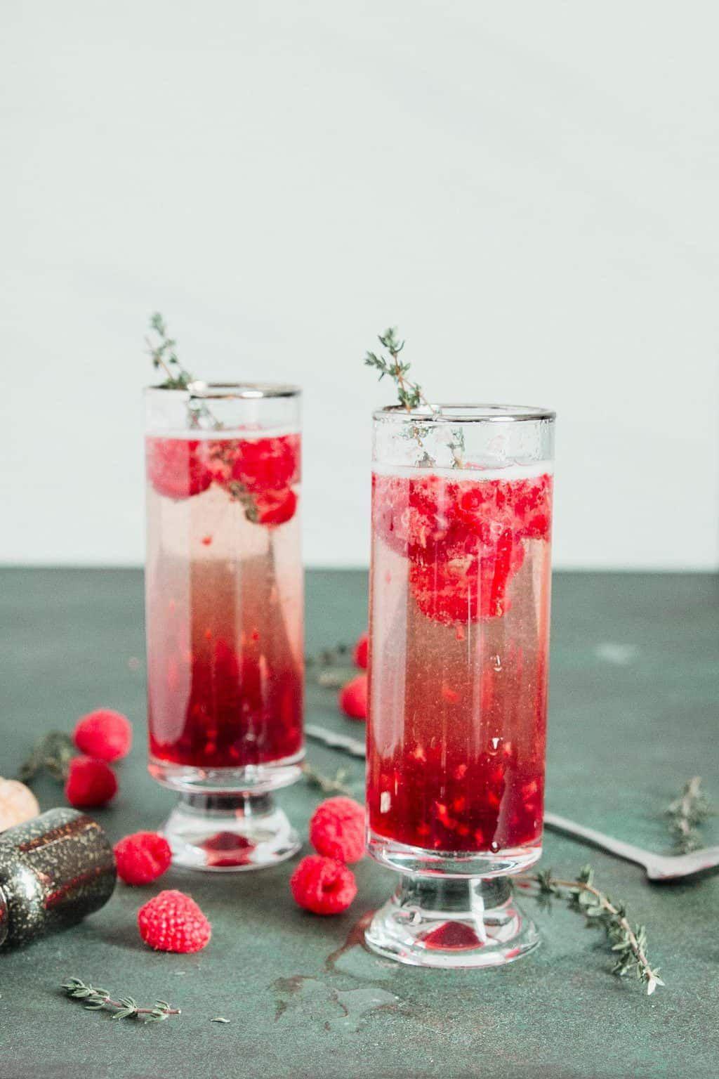 Kir Royale with Raspberries