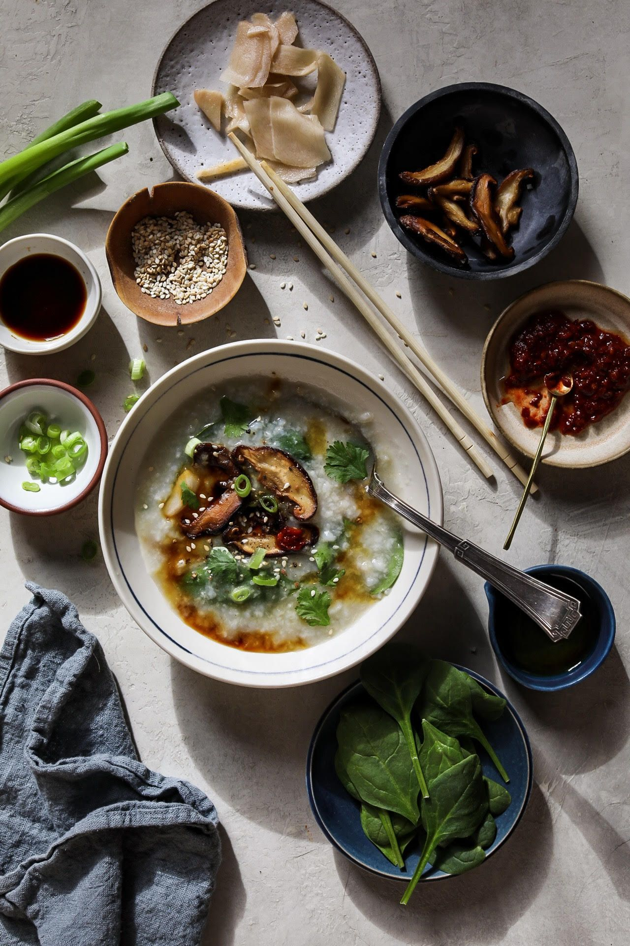 Congee with Mushrooms and Spinach
