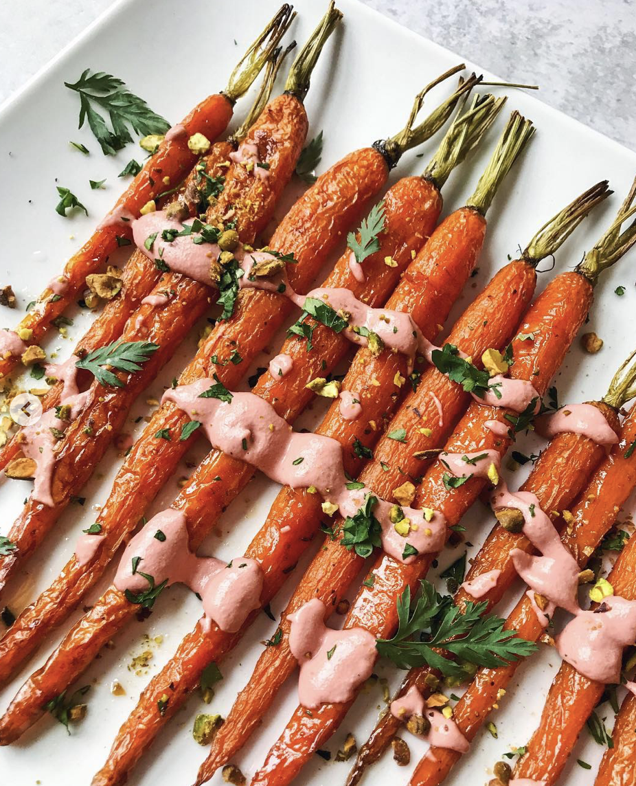 Maple Roasted Carrots with Ginger Beet Tahini Dressing