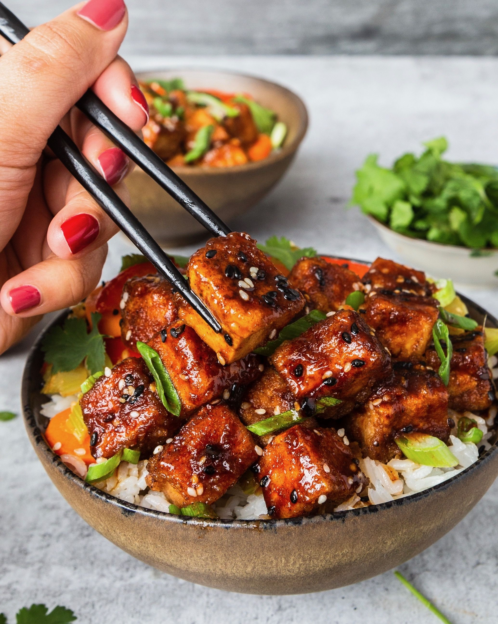 Spicy Maple, Ginger and Five Spice Glazed Tofu