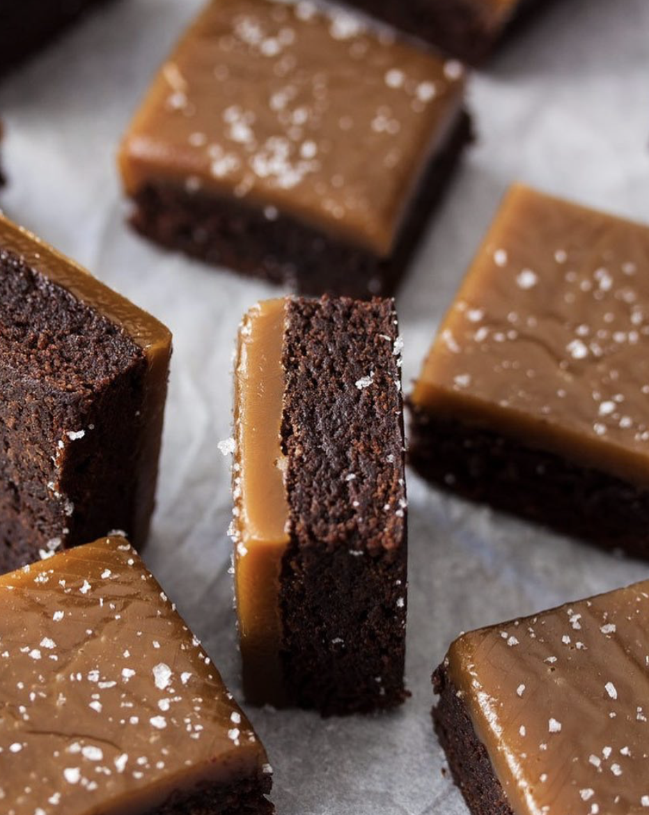 Chocolate Fudge Brownies with Salted Chewy Butterscotch Topping