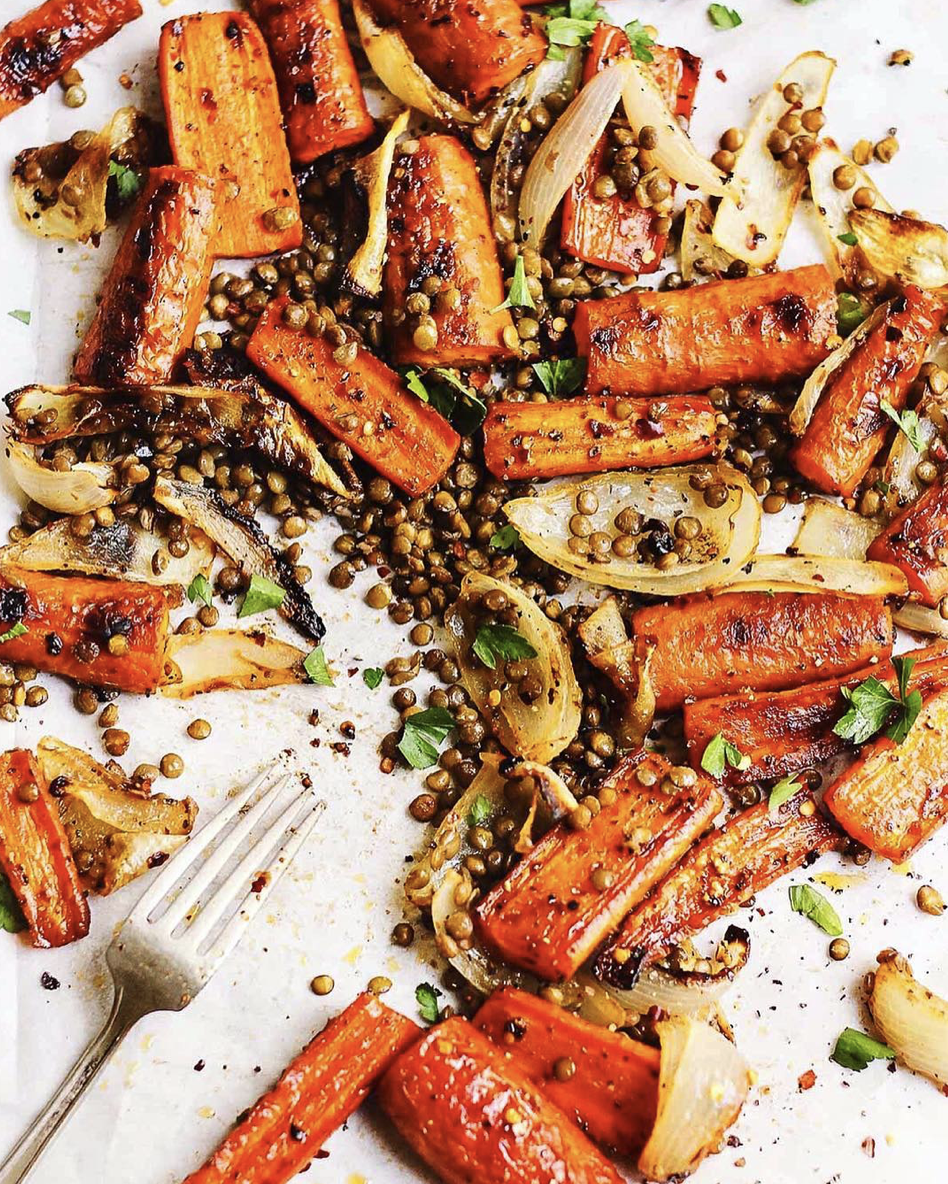 Maple and Herb Roasted Carrots and Lentils