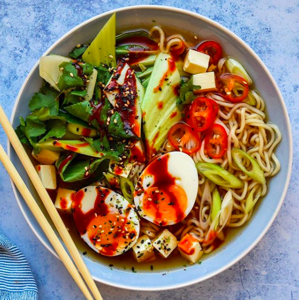 Slow Cooker Ramen with a Soft Boiled Egg and Tofu