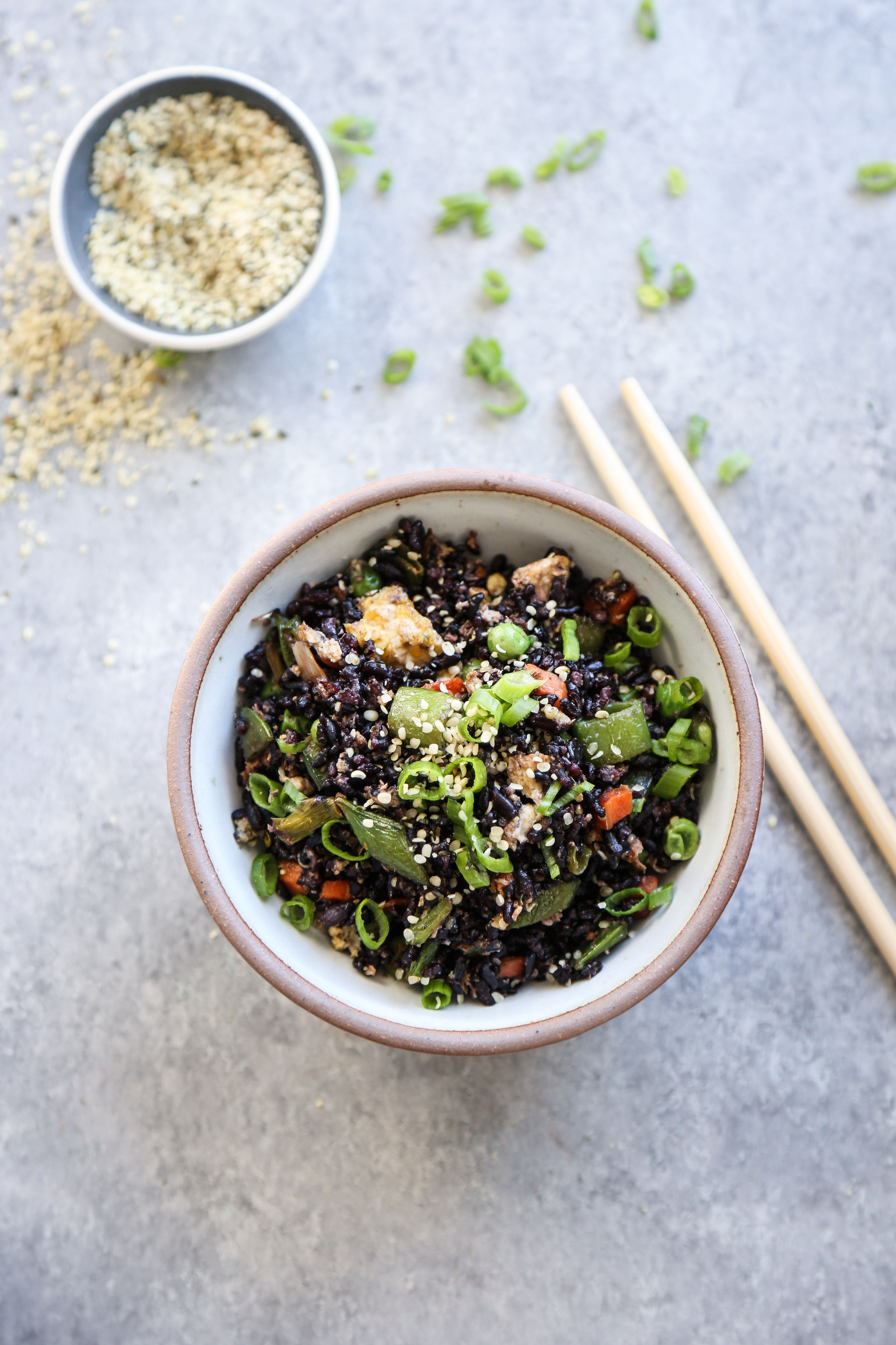 Black Fried Rice with Snow Peas