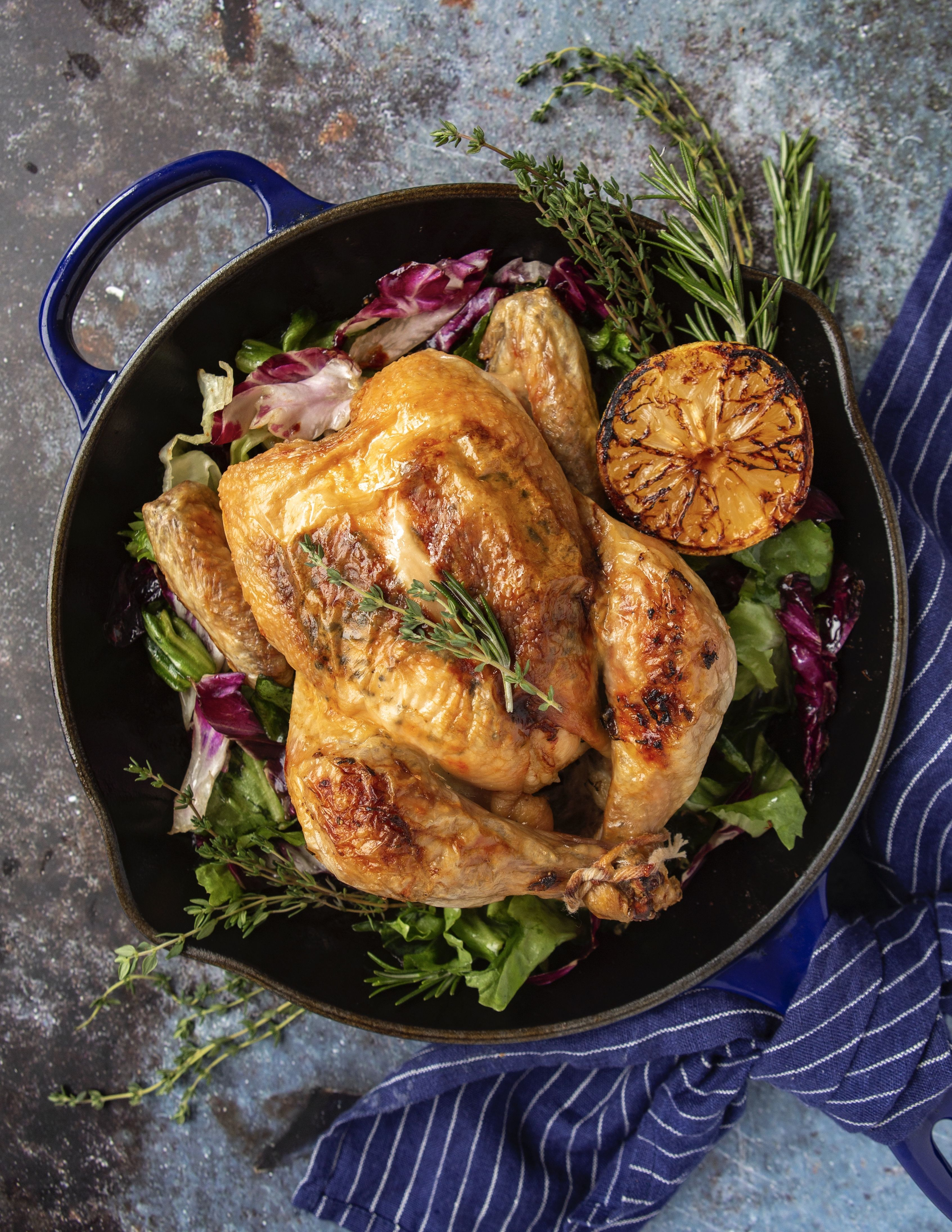 Herb Roasted Chicken with Braised Escarole and Radicchio