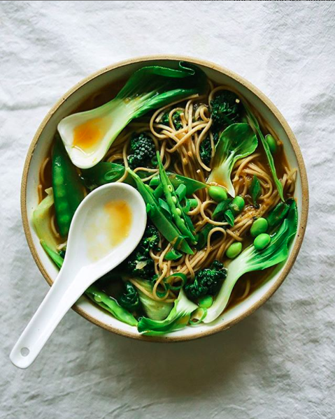 Soba Noodle and Greens Soup
