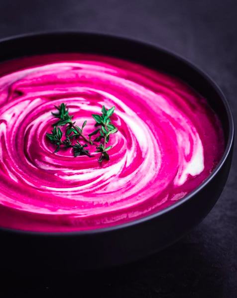 Roasted Beet Soup with Cashew Cream Swirl