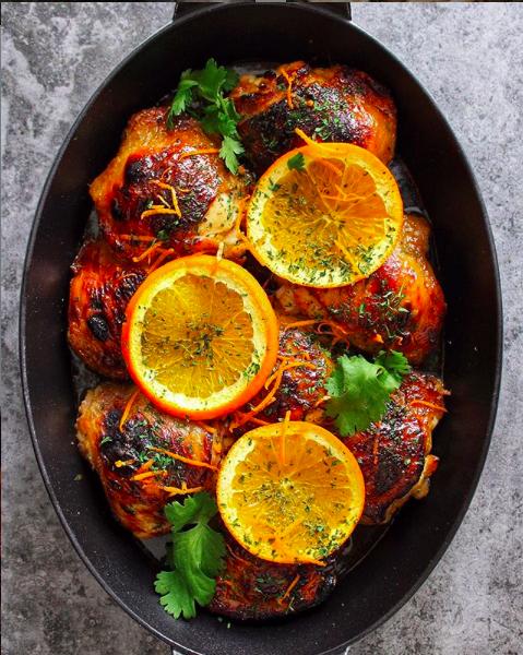 Honey Mustard Glazed Orange Chicken