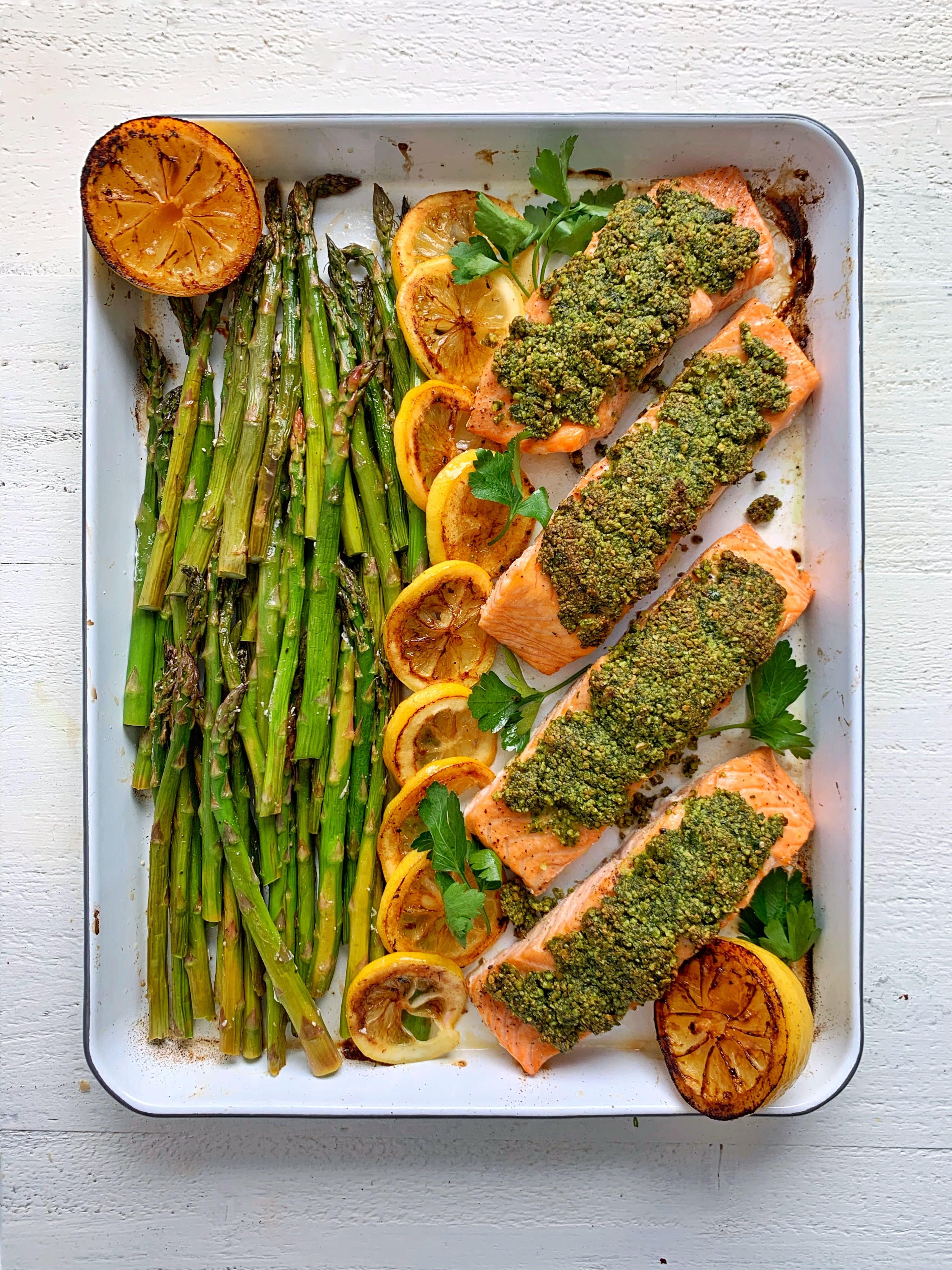 Pistachio Crusted Sheet Pan Salmon with Roasted Asparagus and Lemon