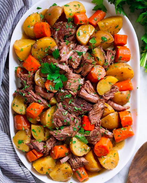 Slow Cooked Pot Roast with Carrots and Potatoes