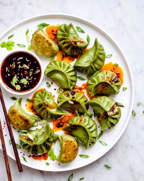 Spinach Tofu Potstickers