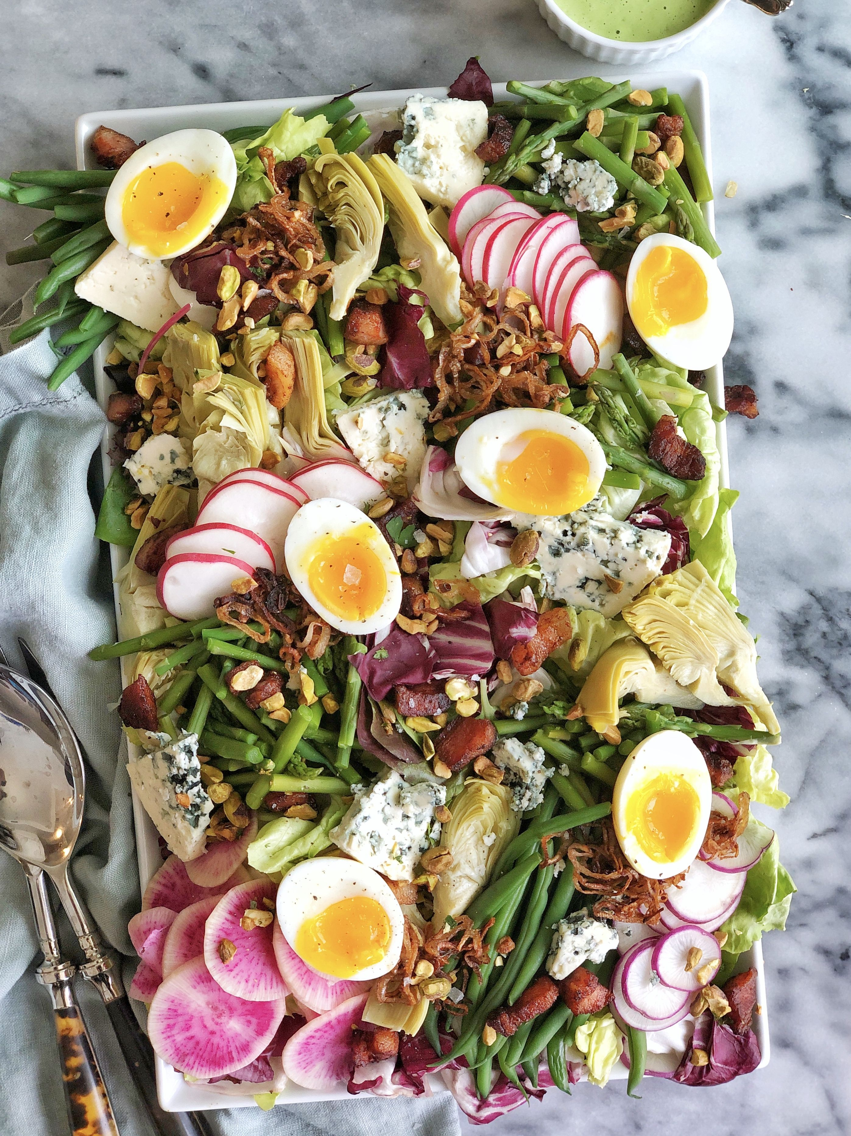 Hearty Spring Cobb with Blue Cheese, Crispy Pancetta, Radishes, Haricot Vert, Asparagus and Herbed Ranch