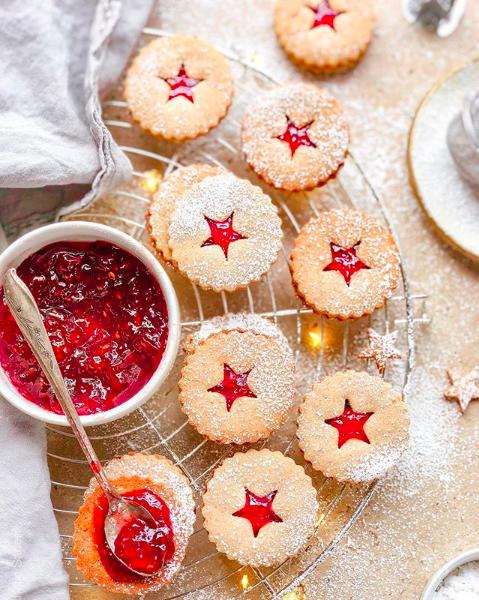 Gingerbread Linzer Cookies with Raspberry Jam
