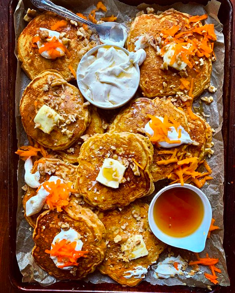Carrot Cake Pancakes with Cream Cheese Syrup, Maple Syrup and Walnuts