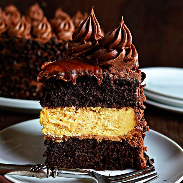 Chocolate Cake with Caramel Cheesecake recipe