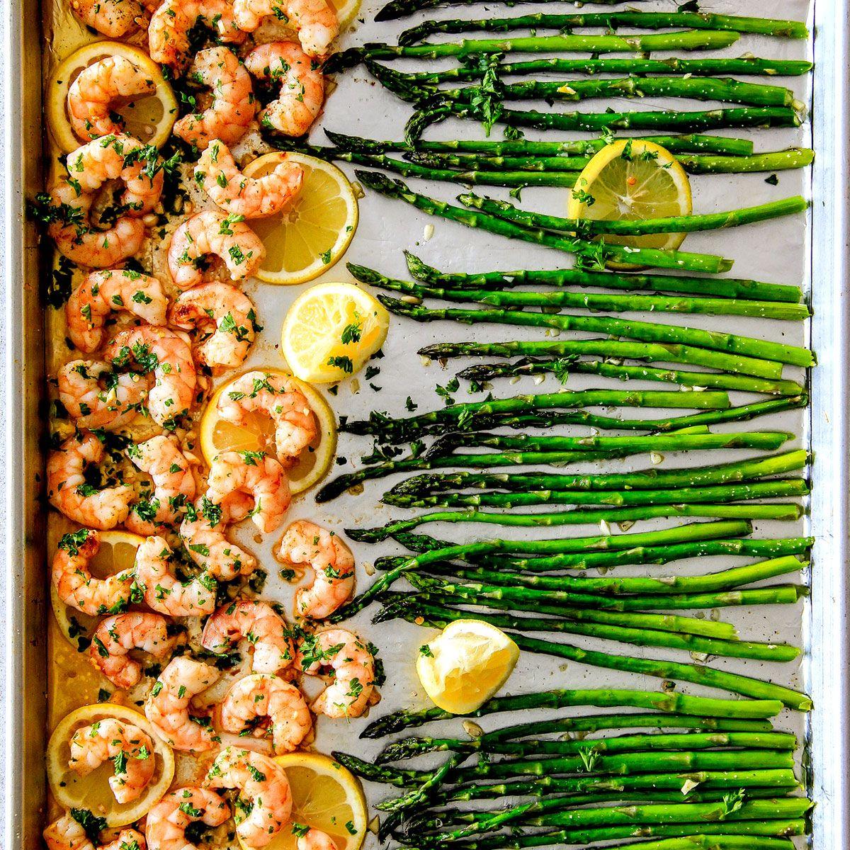 Sheet Pan Lemon Butter Garlic Shrimp and Asparagus