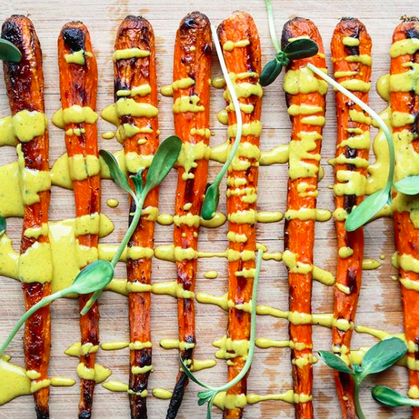 Roasted Carrots with Spiced Tahini Drizzle