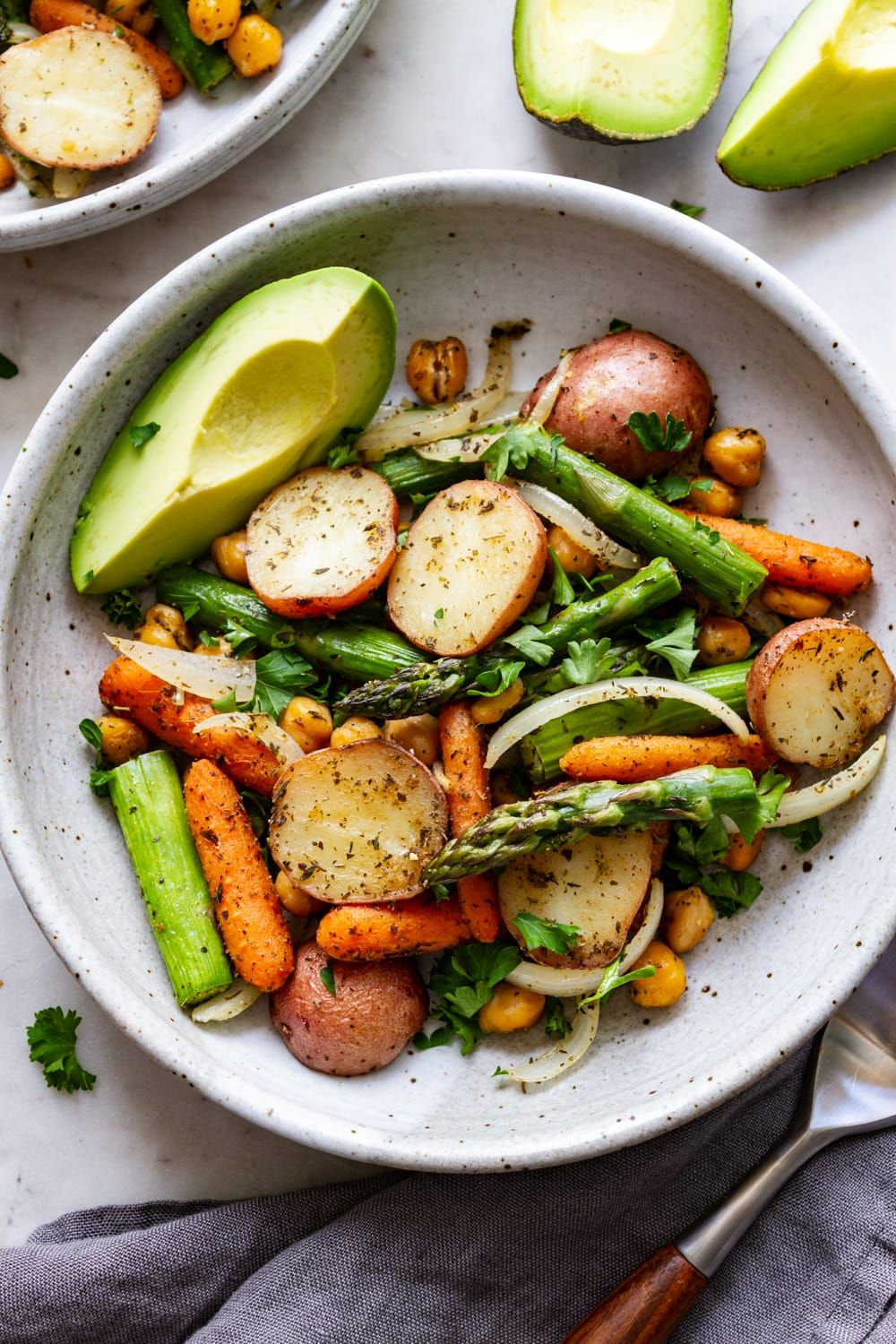 Sheet Pan Herbed Potato, Asparagus and Chickpeas