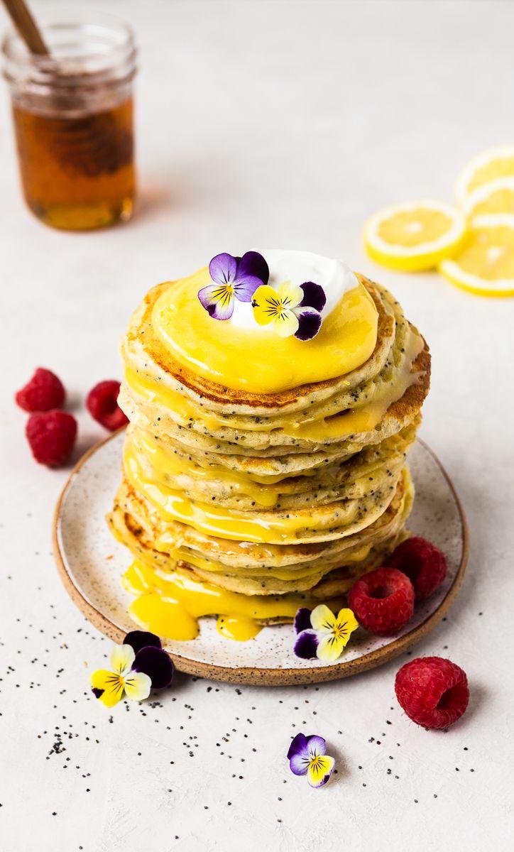 Lemon Ricotta Pancakes with Raw Honey and Lemon Curd