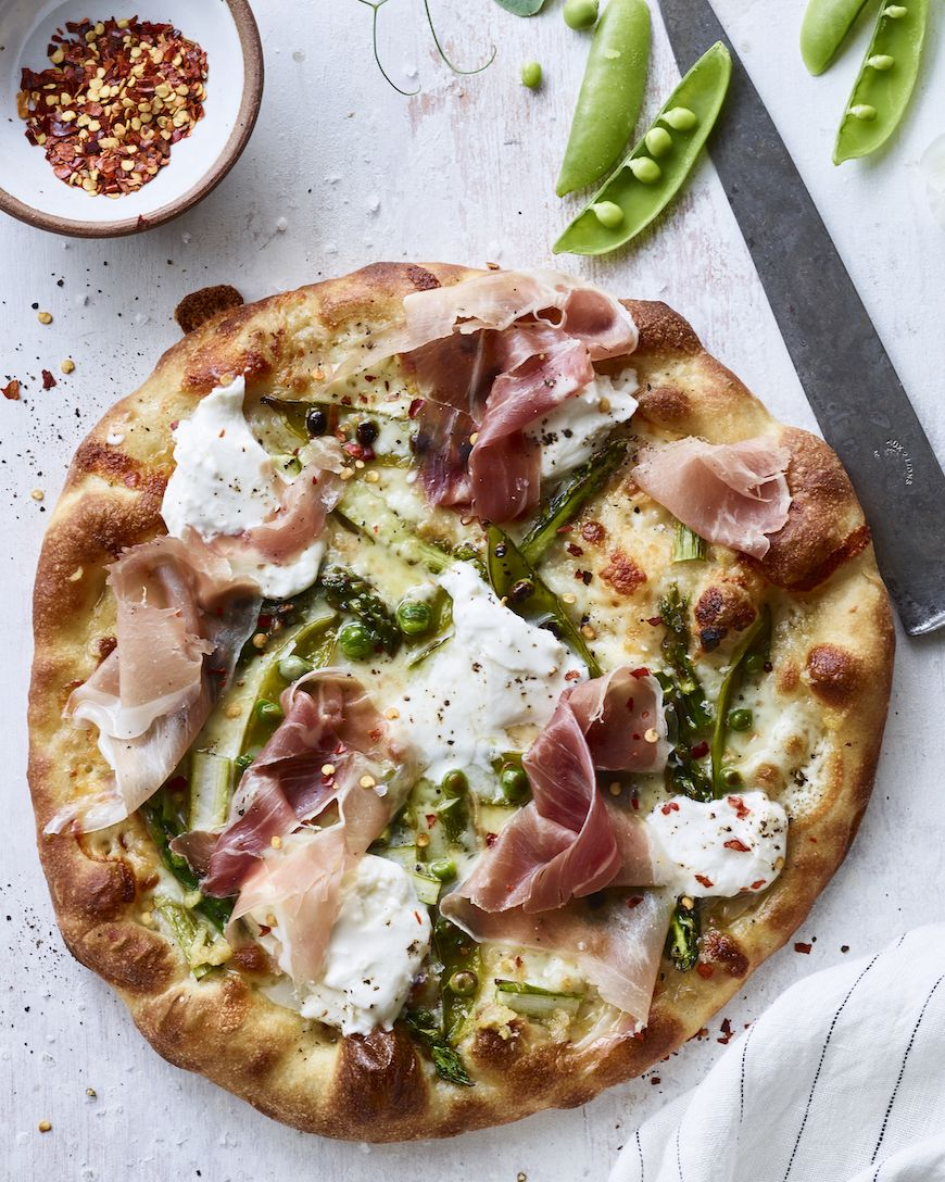 Asparagus and Snap Pea Pizza