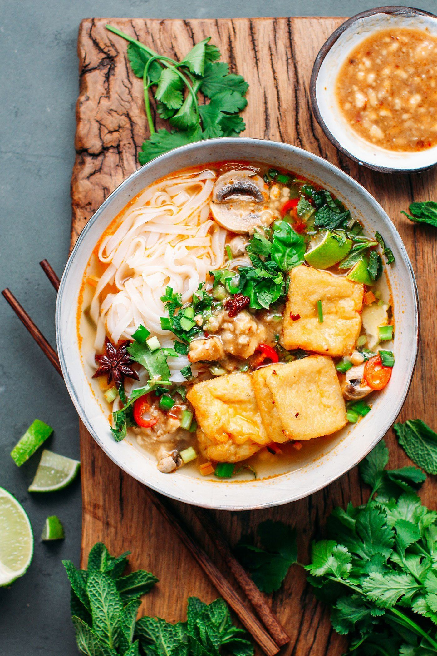 Lemongrass Noodle Soup with Spicy Tofu