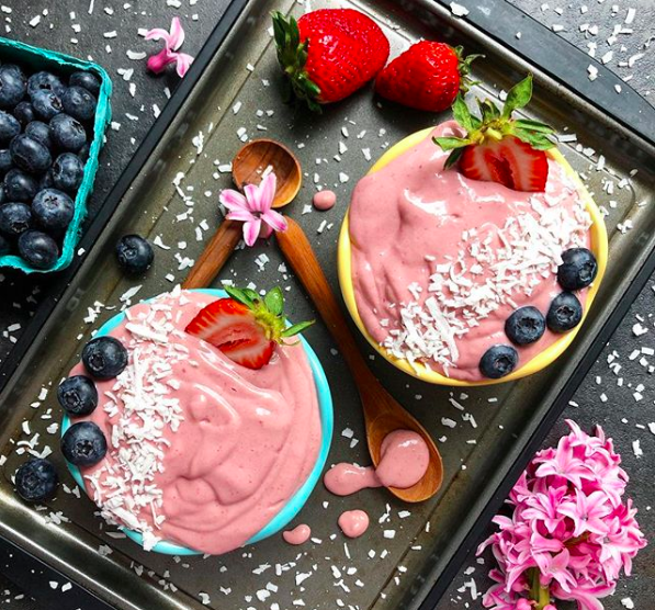 Strawberries and Cream Coconut Smoothie Bowls