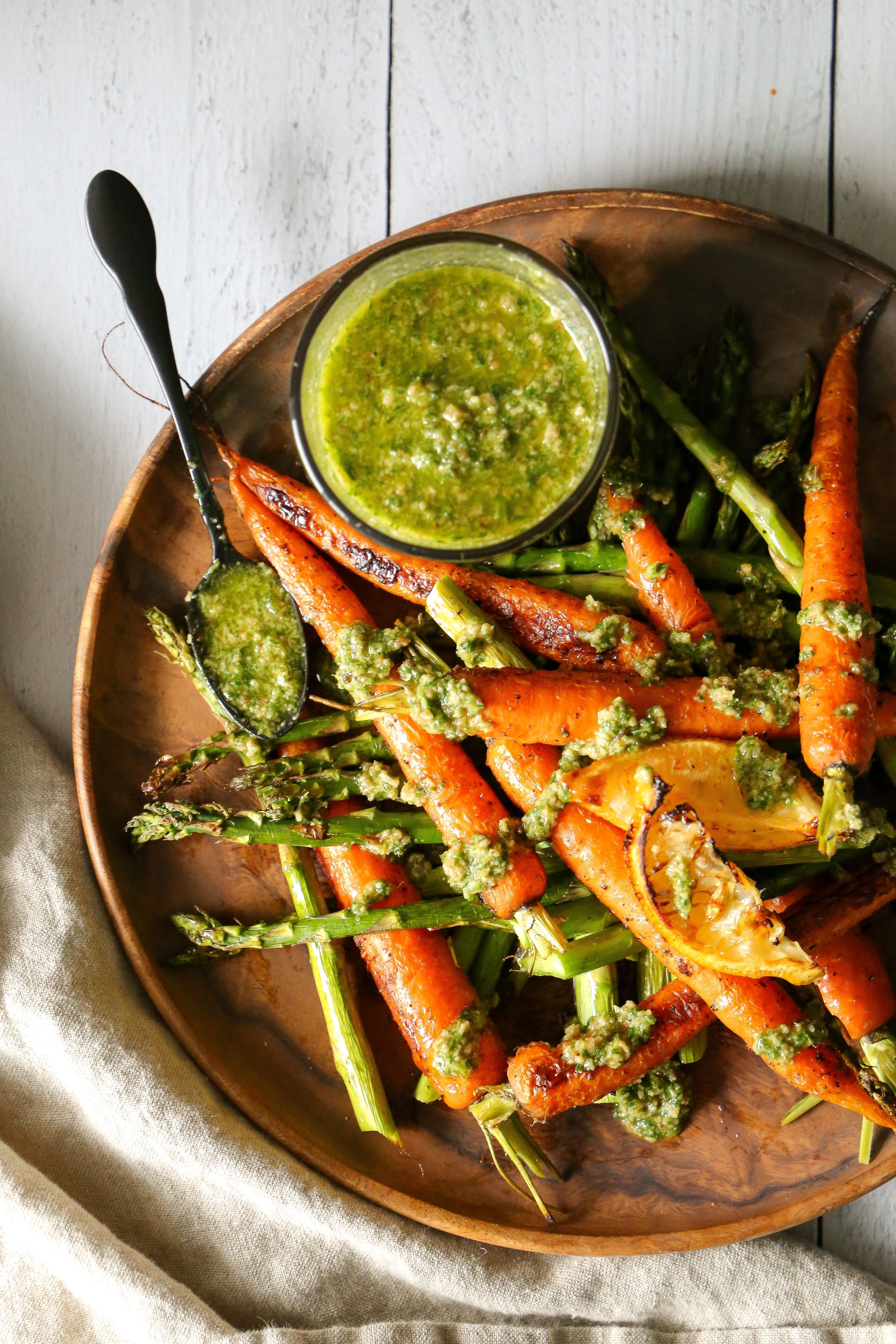 Carrot Top Pesto with Roasted Carrots