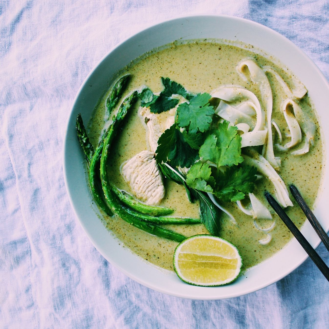 Spicy Green Curry Noodle Soup with Chicken