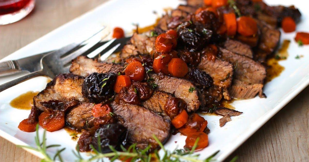 Wine Braised Brisket with Tart Cherries and Carrots