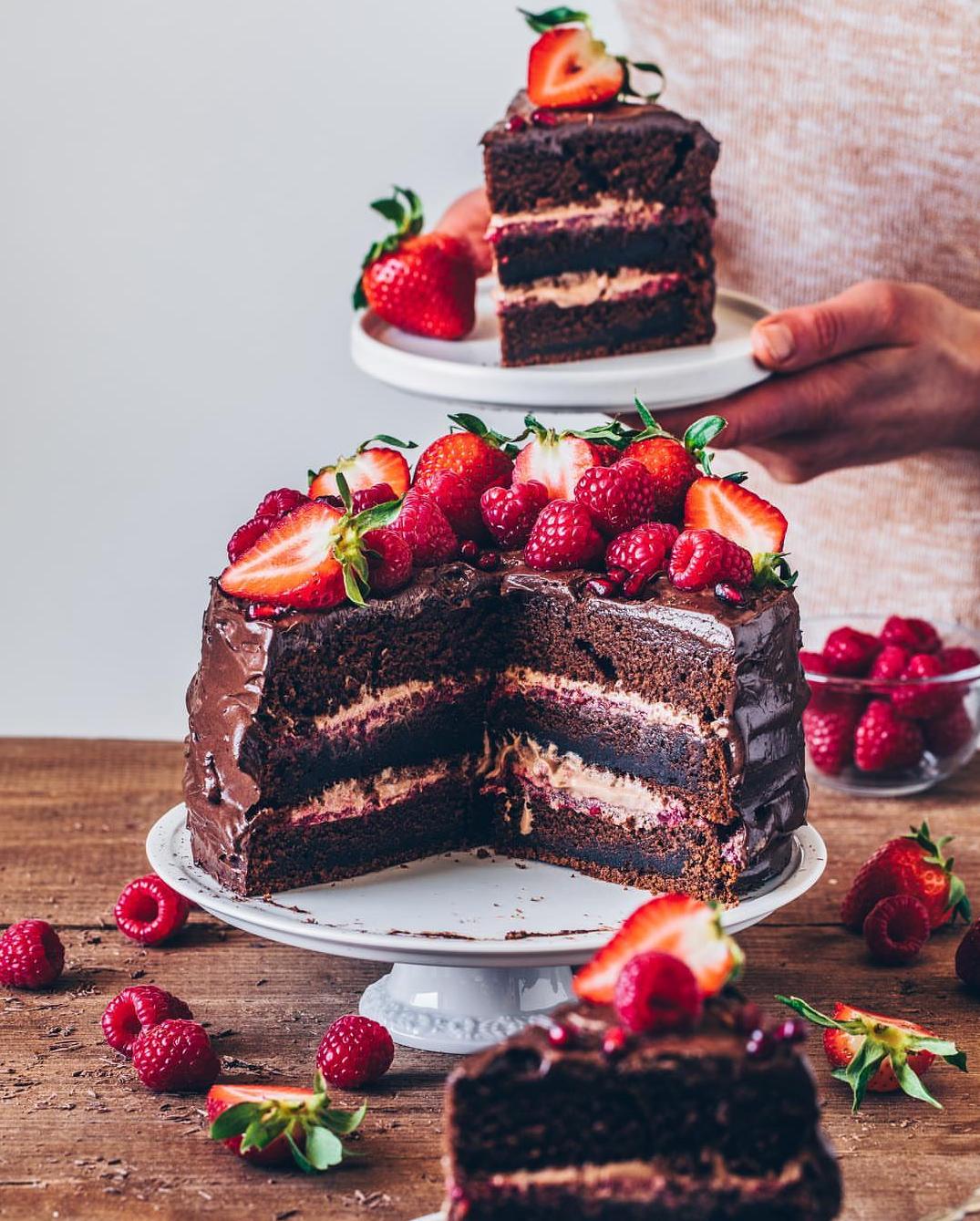 Raspberry Chocolate Layer Cake