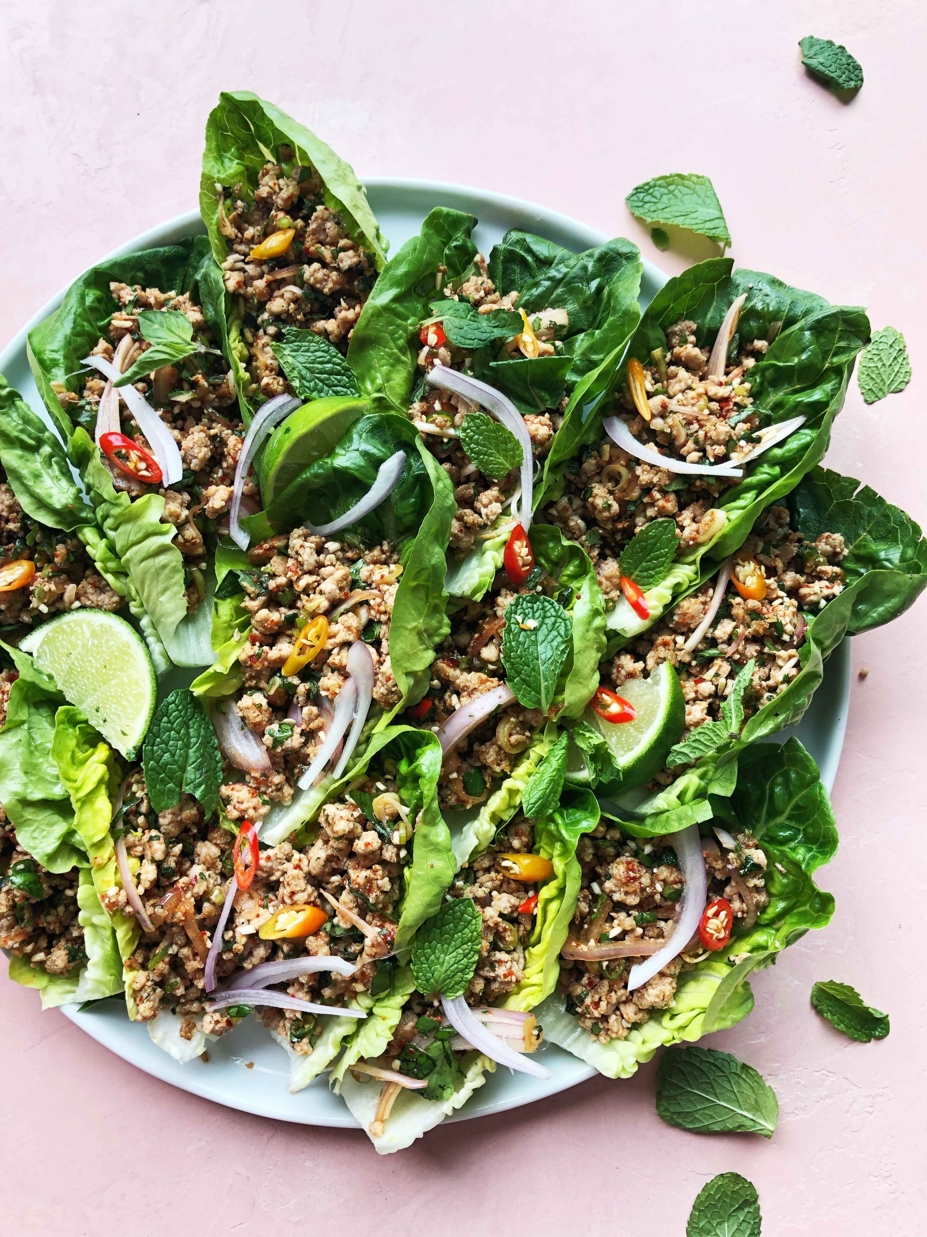 Larb Inspired Pork Lettuce Cups with Fresh Herbs