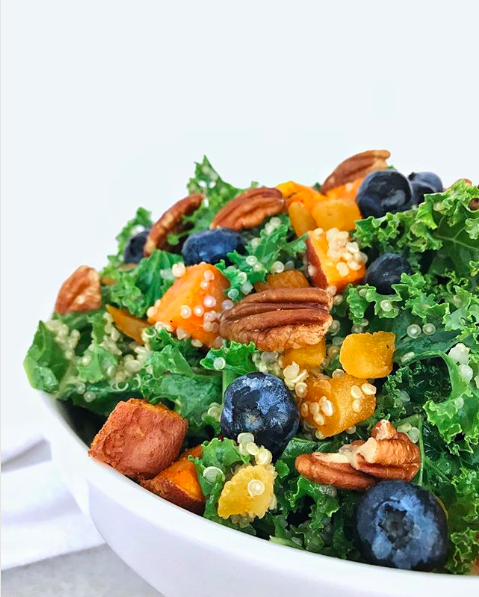 Blueberry, Sweet Potato, Kale Salad with Honey Apple Cider Vinaigrette