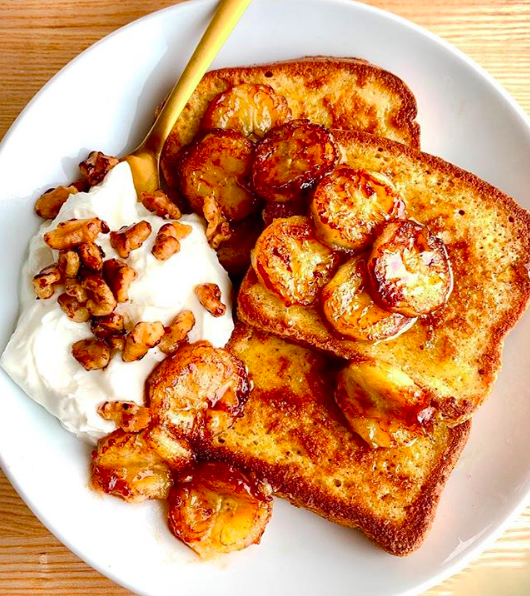 Vanilla Hazelnut French Toast with Caramelized Bananas