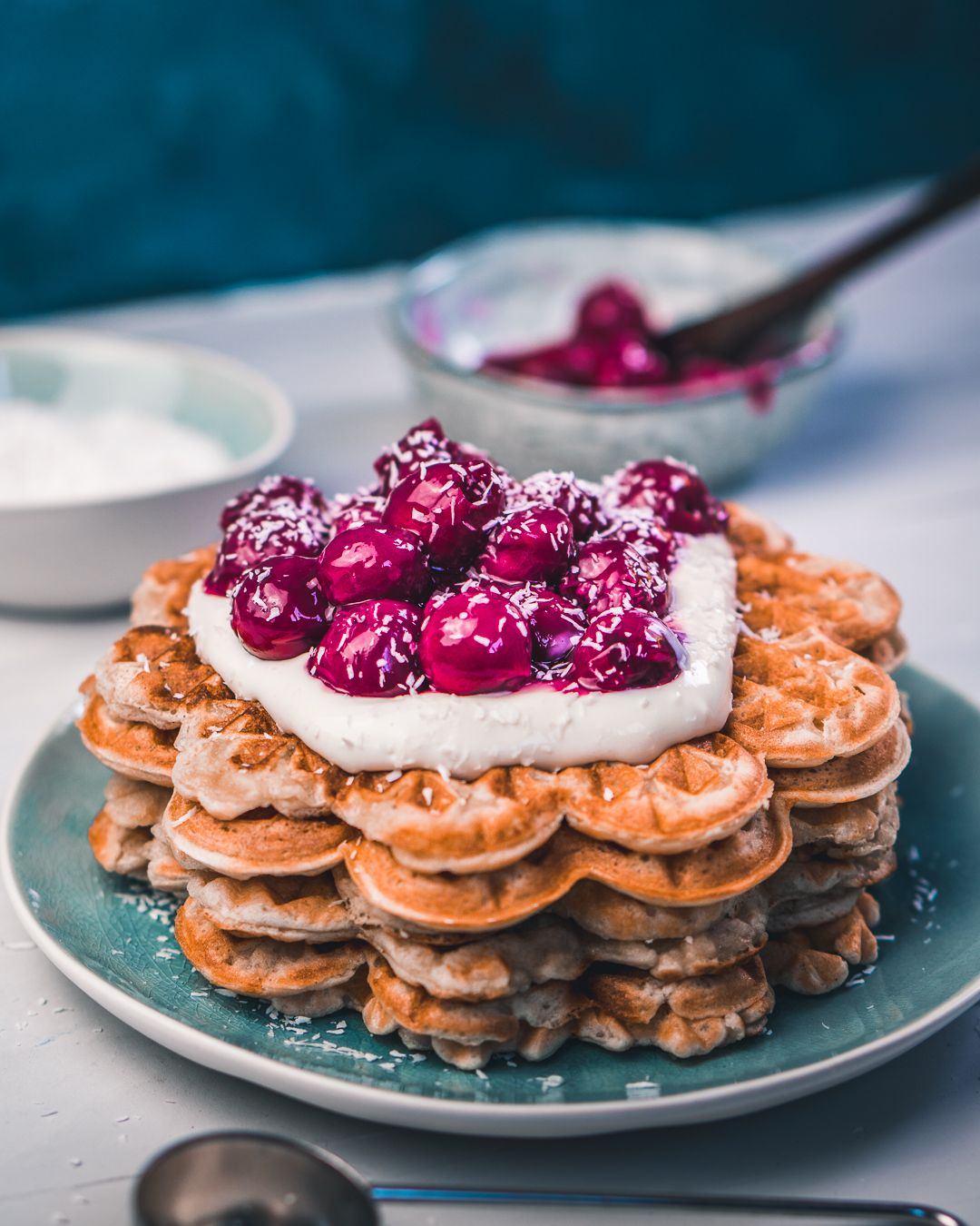 Spelt Waffles with Cherry Topping