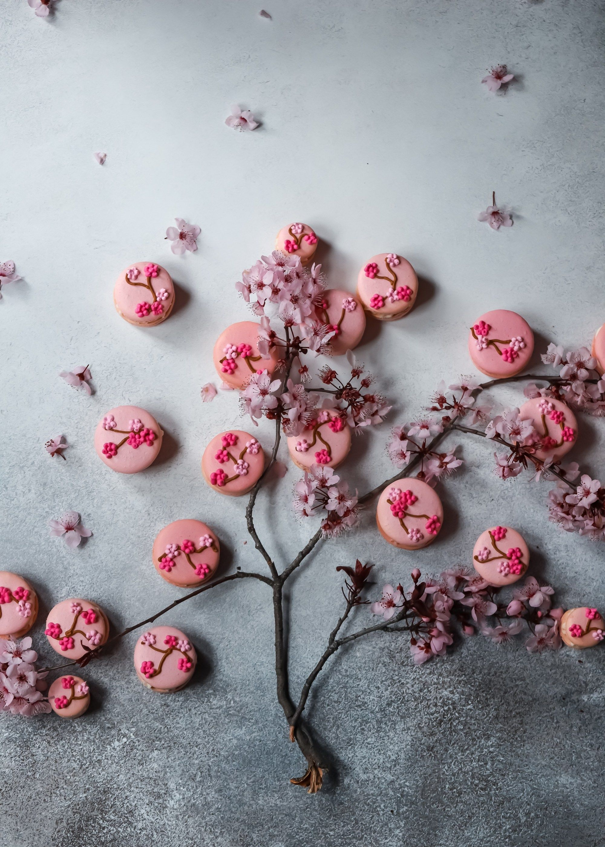 Cherry Blossom Macarons with Buttercream and Jam Filling