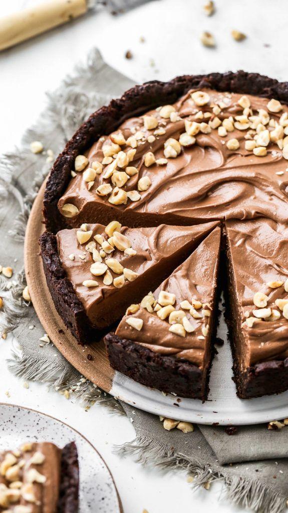 Brownie Bottom Chocolate Hazelnut Cream Pie