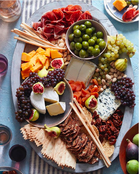 Cheese Board with Fruit and Olives