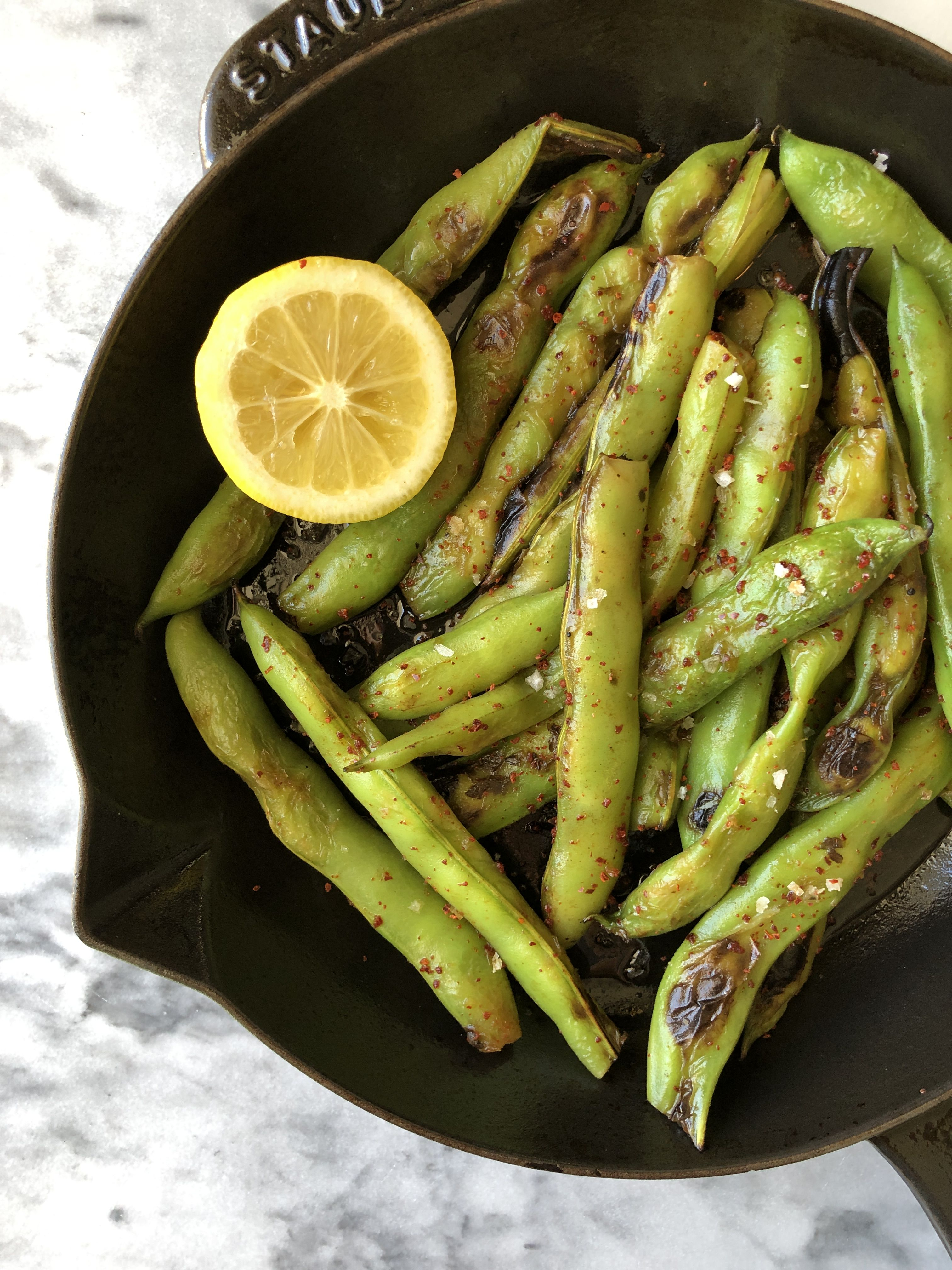 Charred Fava Beans with Lemon and Aleppo