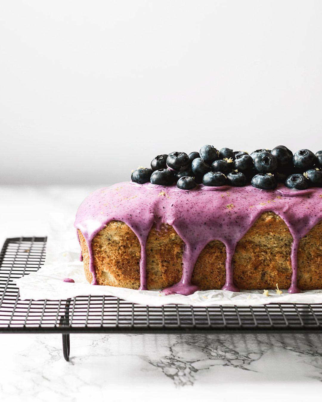Lemon Poppy Seed Cake with Blueberry Glaze