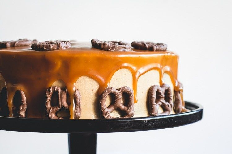 Bourbon Chocolate Cake with Peanut Butter Frosting and Salted Caramel