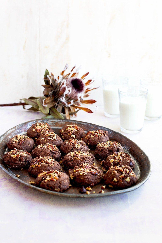 Caramelized Pecan Double Chocolate Cookies