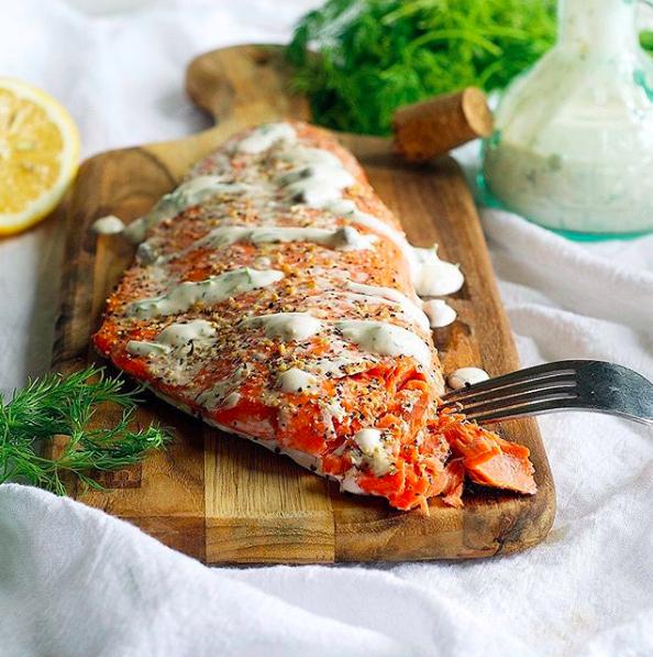 Lemon Pepper Salmon with Lemon Herb Sauce